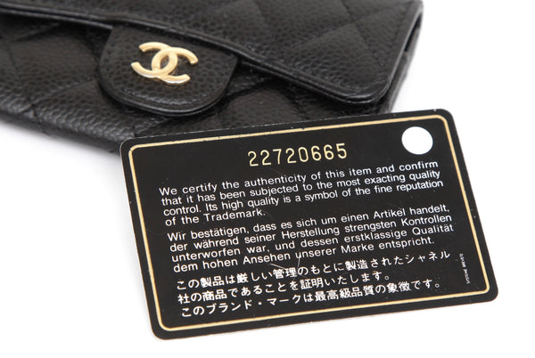 CHANEL Black Caviar Leather Quilted Card Holder Flap Wallet Gold CC Logo - Evesherfashion