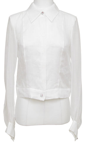 CHANEL White Blouse Top Long Sleeve Cotton 2017 17C $1800 NWT - Evesherfashion