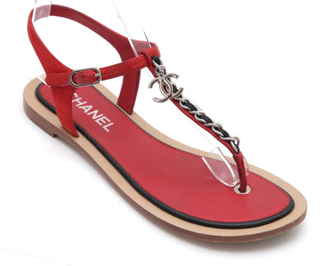 CHANEL Leather Sandal Thong Red Blue Chain Silver-Tone Suede CC Flat 38C - Evesherfashion