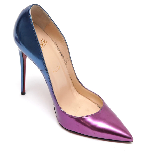 CHRISTIAN LOUBOUTIN So Kate 120 Pump PATENT LEATHER OMBRE Purple Pink Blue Sz 38 - Evesherfashion
