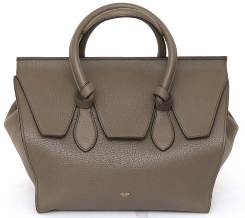 CELINE Leather Tote MEDIUM TIE KNOT Bag Olive Green Gold-Tone HW - Evesherfashion