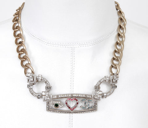 CHANEL Necklace Chain Collar Curb Gold Silver HW Crystal 2016 Emoji - Evesherfashion