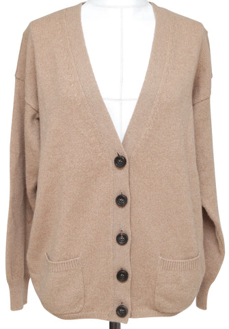 CHLOE Cardigan Sweater Knit Top Tan Cashmere Long Sleeve Sz XS 2011 - Evesherfashion