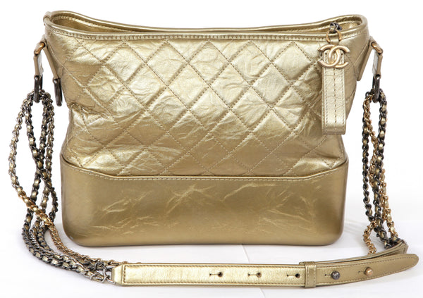CHANEL Gabrielle Metallic GOLD Quilted Leather MEDIUM HOBO Shoulder Bag 2017 - Evesherfashion