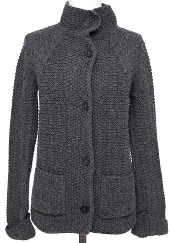CHLOE Cardigan Sweater Knit Jacket CHARCOAL GREY Long Sleeve Sz XS 2011 - Evesherfashion