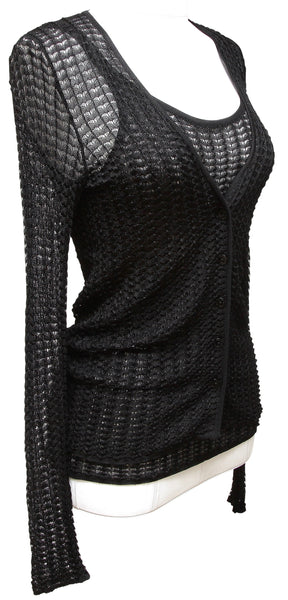 DOLCE & GABBANA Black Sweater Cardigan Knit 2pc Shell Sleeveless Twinset 38 40 - Evesherfashion