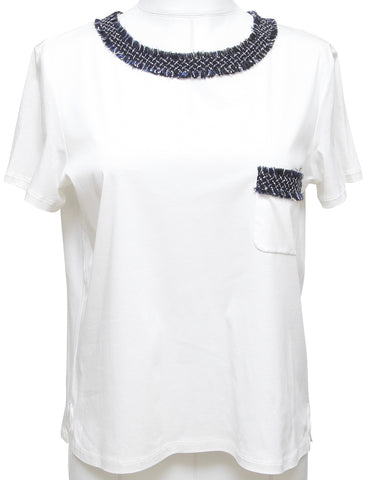 CHANEL T-Shirt Top Blouse White Tweed Navy Short Sleeve Cotton Sz 38 - Evesherfashion