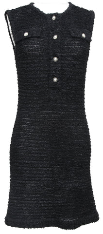 CHANEL Black Dress Tweed Knit Sleeveless Buttons Pockets Semi-Sheer 2016 Sz 36