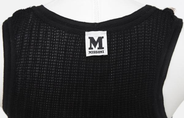 M MISSONI Knit Sweater Sleeveless Black Cotton Viscose Sz 46 - Evesherfashion