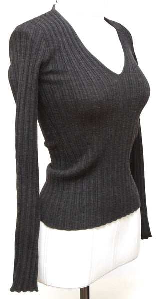 DOLCE & GABBANA Knit Sweater Dark Grey Long Sleeve Ribbed Sz 40 - Evesherfashion