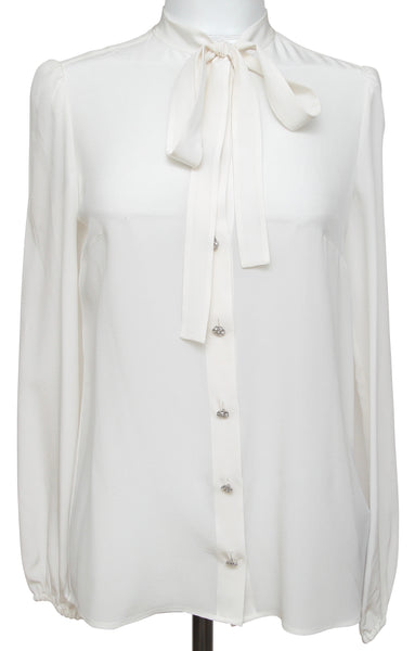 Dolce & Gabbana Silk Blouse Shirt Ivory Long Sleeve Tie Crystal Buttons 38 NWT - Evesherfashion