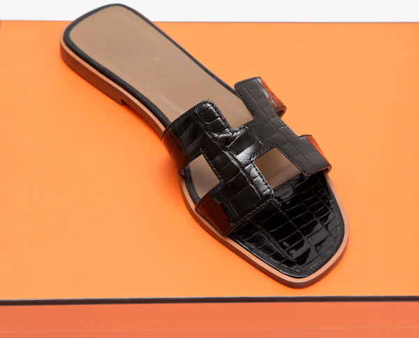 HERMES Sandal Black H Oran Alligator Leather Flat Slide Mule 38 $2775 RECEIPT - Evesherfashion