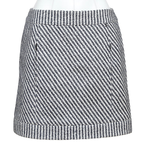 CHANEL Mini Skirt Striped Black White Cotton Blend Tweed Silk Lining Sz 36