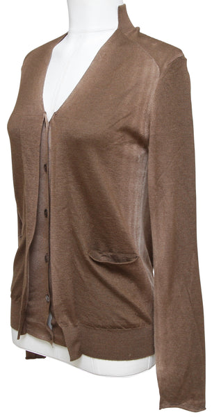 MARNI Cardigan Sweater Knit Top Brown Ombre Cashmere Silk V-Neck Long Sleeve 38 - Evesherfashion