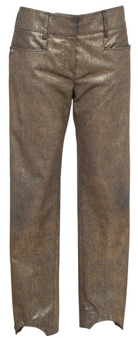 CHANEL Pant Metallic Gold Straight Leg Pockets CC Buttons BOMBAY Fall 2012 Sz 38 - Evesherfashion