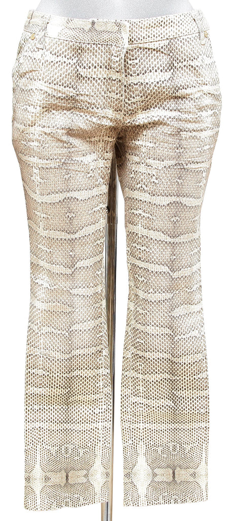 ROBERTO CAVALLI Pants Denim Cotton Animal Print Cream Brown Sz 42 - Evesherfashion