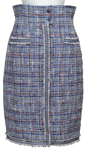 CHANEL Skirt Tweed Fantasy Blue Multi-Color High Waisted Silk Lined 2009 Sz 38