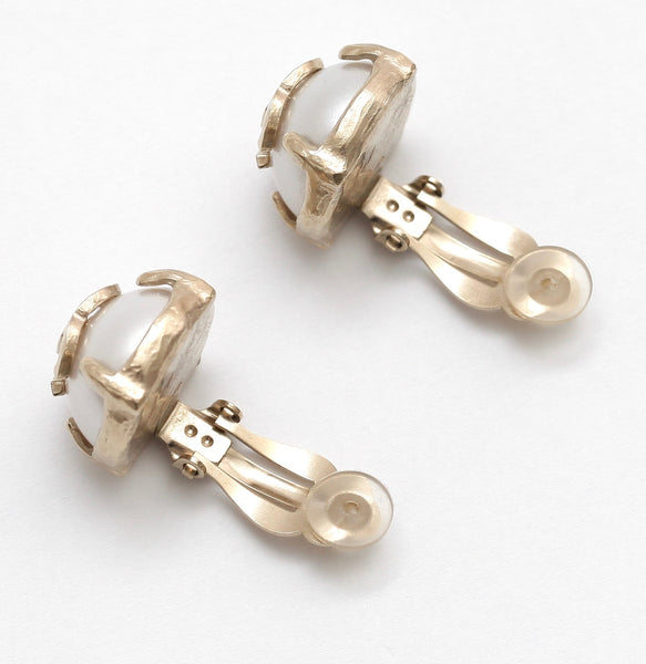 CHANEL Earrings Clip On Faux Pearl Gold CC Prong 2015 - Evesherfashion