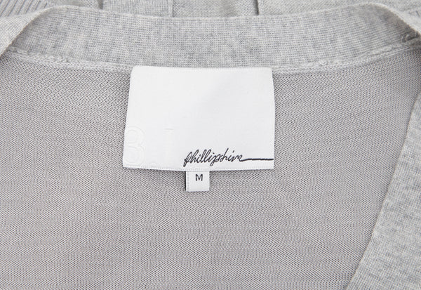 3.1 PHILLIP LIM Cardigan Sweater Knit Grey V-Neck Long Sleeve Silk Cashmere M - Evesherfashion