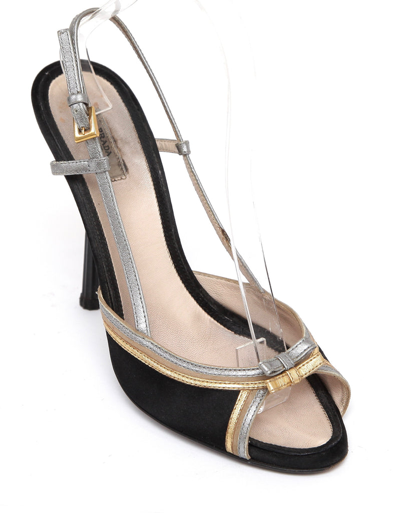 PRADA Slingback Sandal Black Metallic Satin Leather Crystal Heel Sz 38 - Evesherfashion