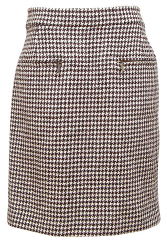 CHANEL Skirt Houndstooth Brown Beige Straight Knee Length Wool RUNWAY 2015 Sz 38