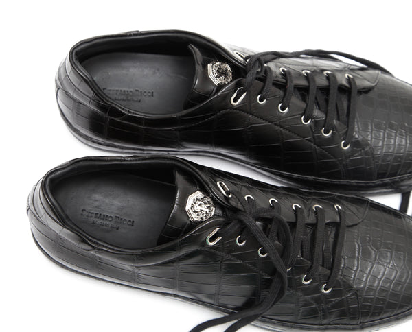STEFANO RICCI Men's Black Sneaker Exotic Skin Leather Low Top Silver HW Sz 10 - Evesherfashion