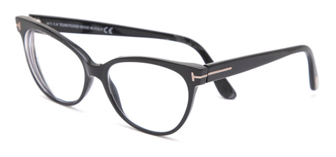 TOM FORD Eyeglass Frames Shiny Black Silver TF 5291 001 - Evesherfashion