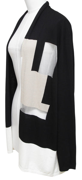 LAFAYETTE 148 NEW YORK Black Cardigan Sweater Long Sleeve Open Front XL - Evesherfashion