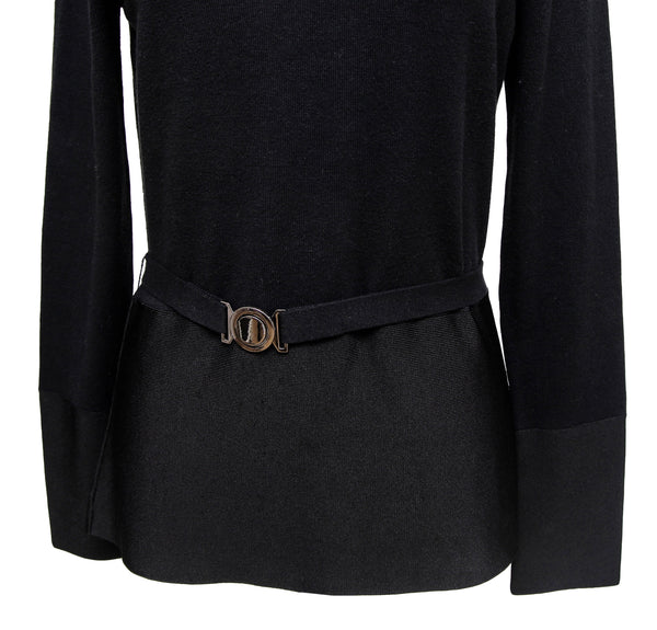 CARLISLE Black Sweater Knit Top Turtleneck Long Sleeve Belt Sz M - Evesherfashion