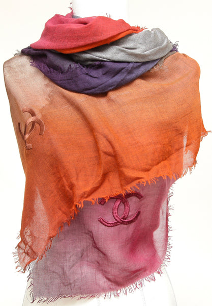 CHANEL Scarf Wrap Shawl Rectangle Ombre Multicolor Purple Grey Pink Red LARGE - Evesherfashion