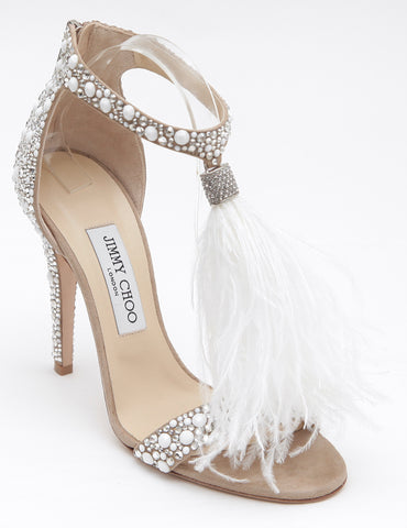 JIMMY CHOO Sandal Crystal Feather Tassel VIOLA Suede White Metallic Sz 38 NEW