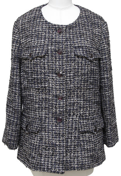 CHANEL Tweed Jacket Blazer Collarless Gripoix Jewel Buttons Long Sleeve 48 2012 - Evesherfashion