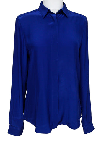 BARBARA BUI Silk Blouse Shirt Royal Blue Button Down Sz 38 - Evesherfashion