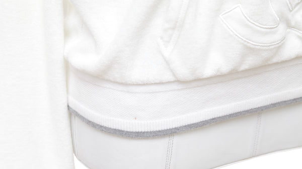 CHANEL IDENTIFICATION White Terry Cloth Pullover Hooded Sweatshirt Grey Trim 38 - Evesherfashion