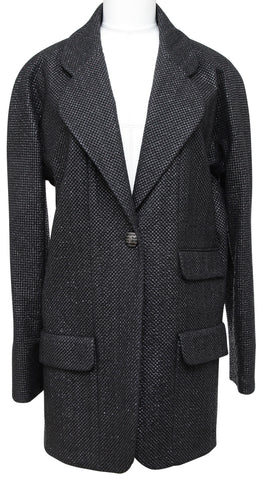 CHANEL Blazer Jacket Black RUNWAY Tweed Iridescent Classic Cruise 2011 Sz 46 - Evesherfashion