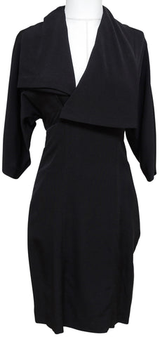 STELLA MCCARTNEY Black Dress Wool Silk V-Neck 3/4 Sleeve Sz 38 - Evesherfashion