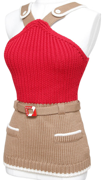MIU MIU Knit Sweater Top Sleeveless Beige Red White Belt Crystals Buttons Sz 40 - Evesherfashion
