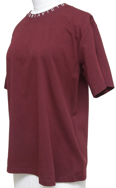 VICTORIA VICTORIA BECKHAM T-Shirt Top Maroon White Logo Short Sleeve Cotton XS - Evesherfashion