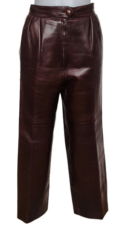 HERMES Pant Leather Brown High Waisted Trouser Sheepskin Sz 40 VINTAGE - Evesherfashion