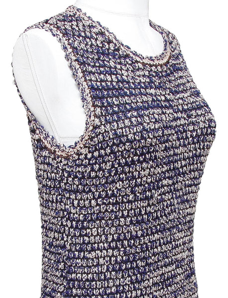 CHANEL Sweater Knit Sleeveless Dress Creme Navy Blue Sz 38 2011 11P - Evesherfashion