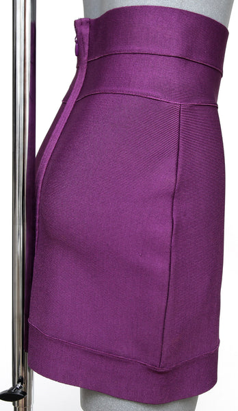HERVE LEGER Skirt Magenta Color Classic Bodycon Straight Above Knee Sz M - Evesherfashion