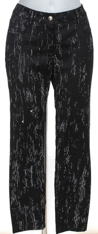 CHANEL Pant Black White Straight Leg Wool Pockets Zip Casual 38 Spring 2012 12P - Evesherfashion