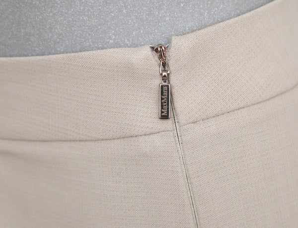 MAX MARA Pant Wool Beige Straight Leg Side Zipper Sz 12 - Evesherfashion