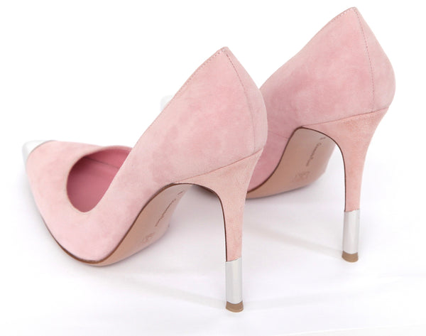 GIANVITO ROSSI Pink Suede Pump Pointed Toe Leather Silver Heel Sz 39 - Evesherfashion