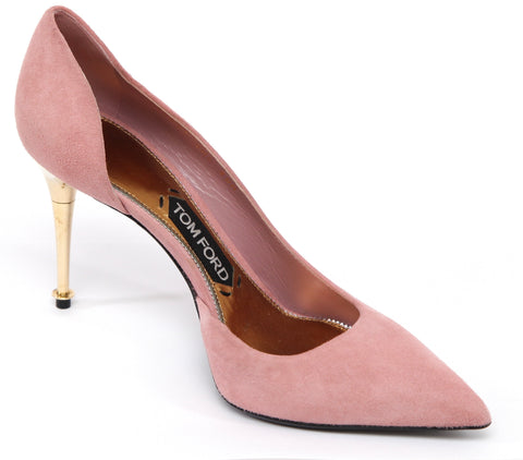 TOM FORD Pink Suede D'Orsay Pump Pointed Toe Leather Gold Heel Sz 39 - Evesherfashion