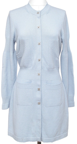 Chanel Cardigan Sweater Blue Cashmere Silver-Tone CC Buttons Long 42 Fall 2015 - Evesherfashion
