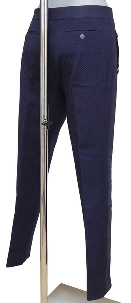 SALVATORE FERRAGAMO Pant Navy Blue Cotton Silver-Tone HW Sz 42 - Evesherfashion