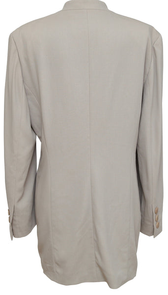 ESCADA Jacket Blazer Beige Long Sleeve Button Down Collarless M - Evesherfashion