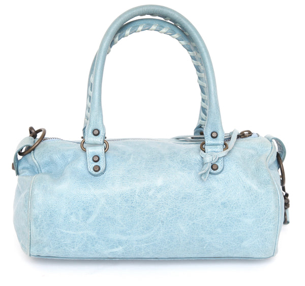 BALENCIAGA Leather Bag MINI TWIGGY Satchel Blue Brass Lambskin Shoulder Strap - Evesherfashion