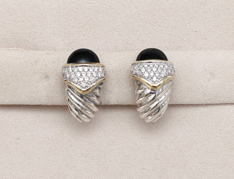 DAVID YURMAN Earrings Onyx Diamond SHRIMP Sterling Silver Gold Clip-on - Evesherfashion
